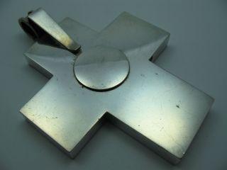 Handarbeit Riesengroßer Massiver Kreuz Anhänger Aus Silber Bild