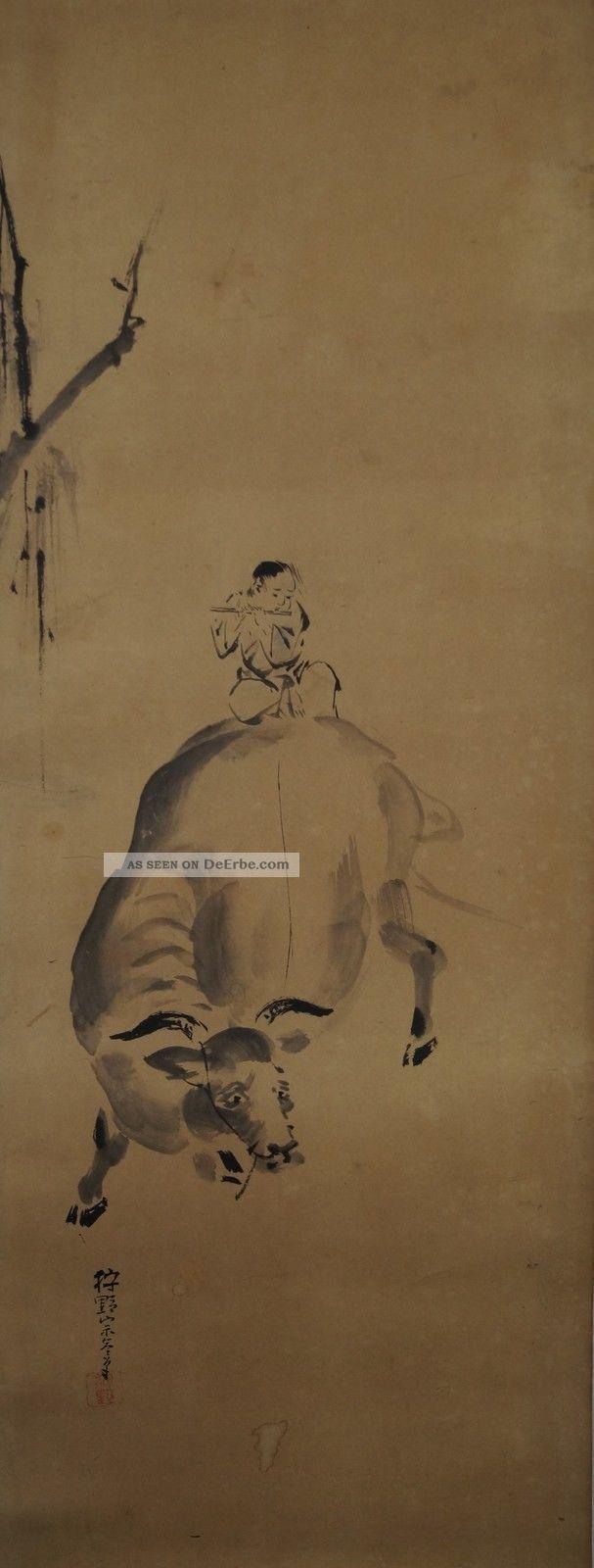 Japanisches Rollbild Makuri Honshi Flötenspieler & Kuh Japan Scroll Cow 3340 Asiatika: Japan Bild