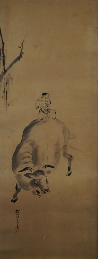 Japanisches Rollbild Makuri Honshi Flötenspieler & Kuh Japan Scroll Cow 3340 Bild