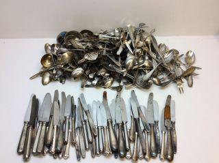 Konvolut Besteck Messer Löffel Silber Schrott 90er 100er Ca 13,  6kg Bild