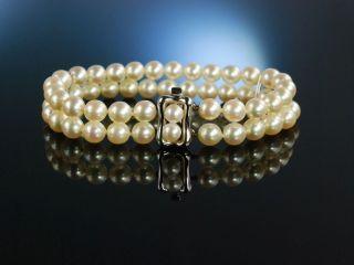 Edler Klassiker Akoya Zucht Perlen Armband Gold 585 2 Reihig Pearl Bracelet Bild