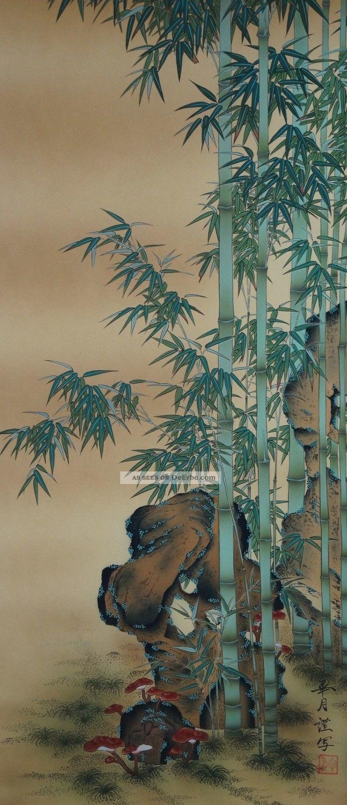Antikes Japanisches Rollbild Kakejiku Bambus Japan Scroll 3553 Asiatika: Japan Bild
