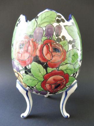 Ernst Wahliss Vienna Jugendstil Ei Vase Übertopf Cachepot Floral Art Nouveau Bild