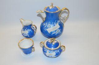 1236,  Blau Gold Weiß Geschirr Porzellan Kaffekanne Zuckertopf Milchkanne Tasse 4 Bild