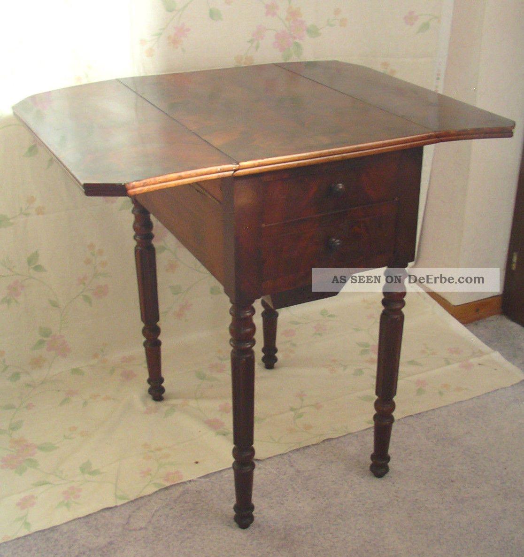 Antik Pembroke Tisch Klapptisch Wurzelholz Louis - Philippe Frankreich Shabby Chic Antike Originale vor 1945 Bild