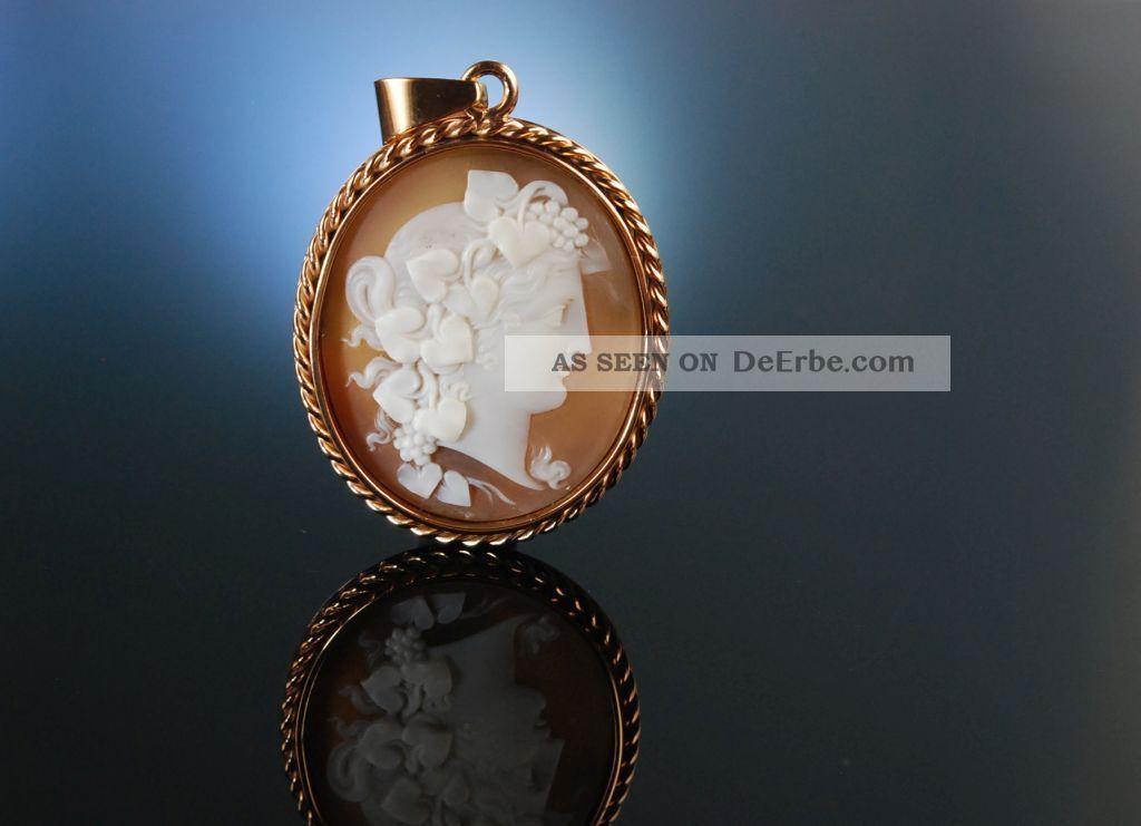 Kamee Gemme AnhÄnger Cameo Pendant MÄnade Silber RosÉ Vergoldet England Um 1870 Schmuck nach Epochen Bild