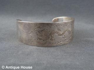 Schmuck Schmuckstück Silber 925 Armreif Armband Drachen Dekor Bild