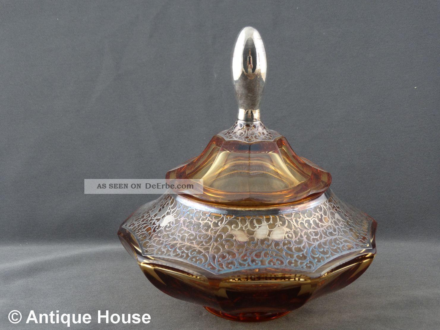 Antike Bonboniere Glas Kristallglas Bersteinfarben Mit Silberauflage Art Deko Kristall Bild