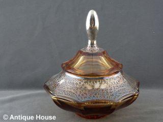 Antike Bonboniere Glas Kristallglas Bersteinfarben Mit Silberauflage Art Deko Bild