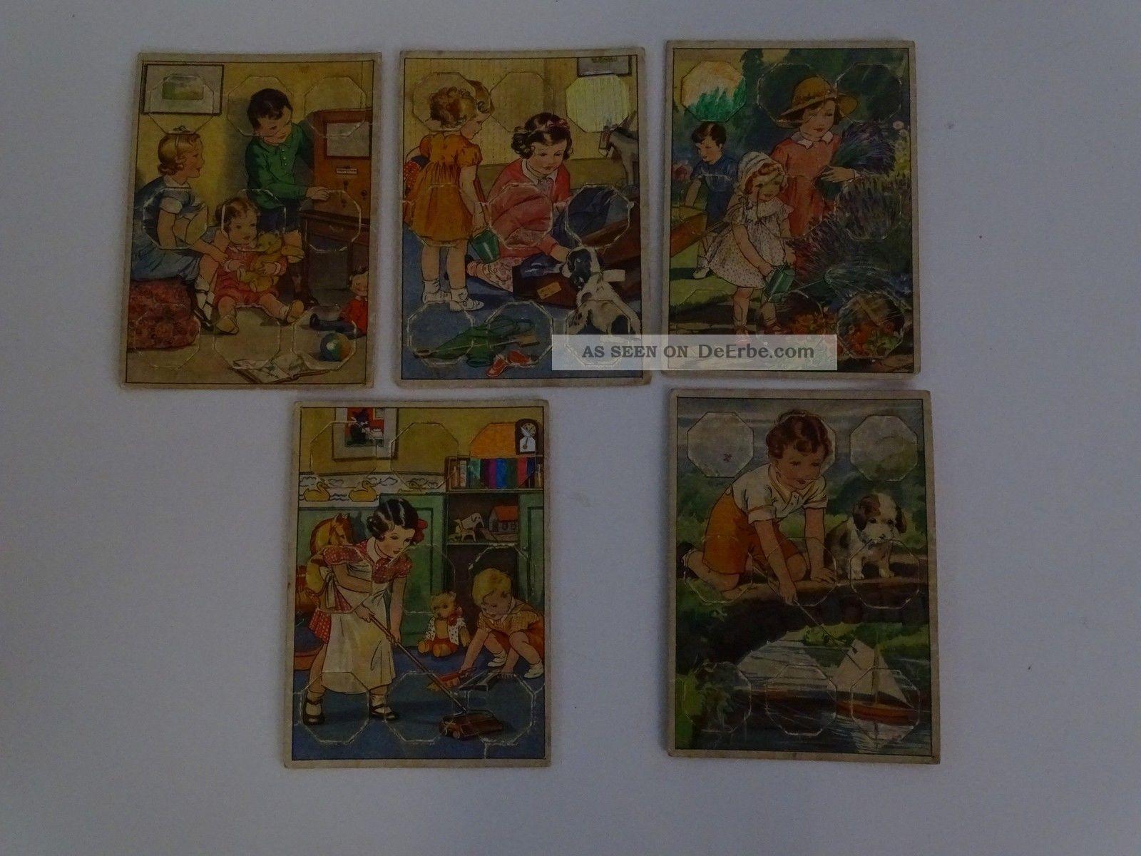 5 Antike Seltene Rechen Puzzle Spiele Für Kinder Legespiel Lernspiel Gefertigt vor 1945 Bild
