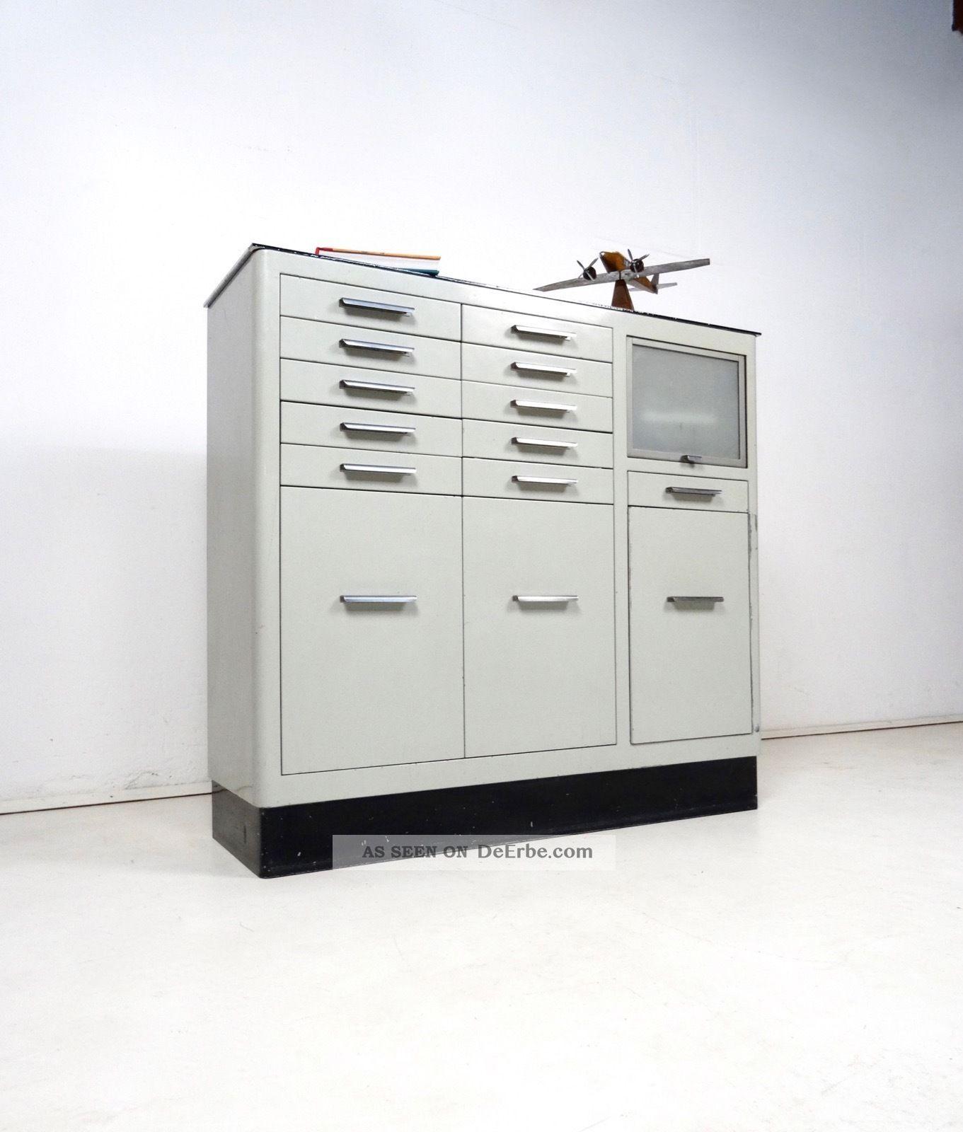 Metall Arztschrank 30er Sideboard Loft Bauhaus Arzt MÖbel Steampunk 1920-1949, Art Déco Bild