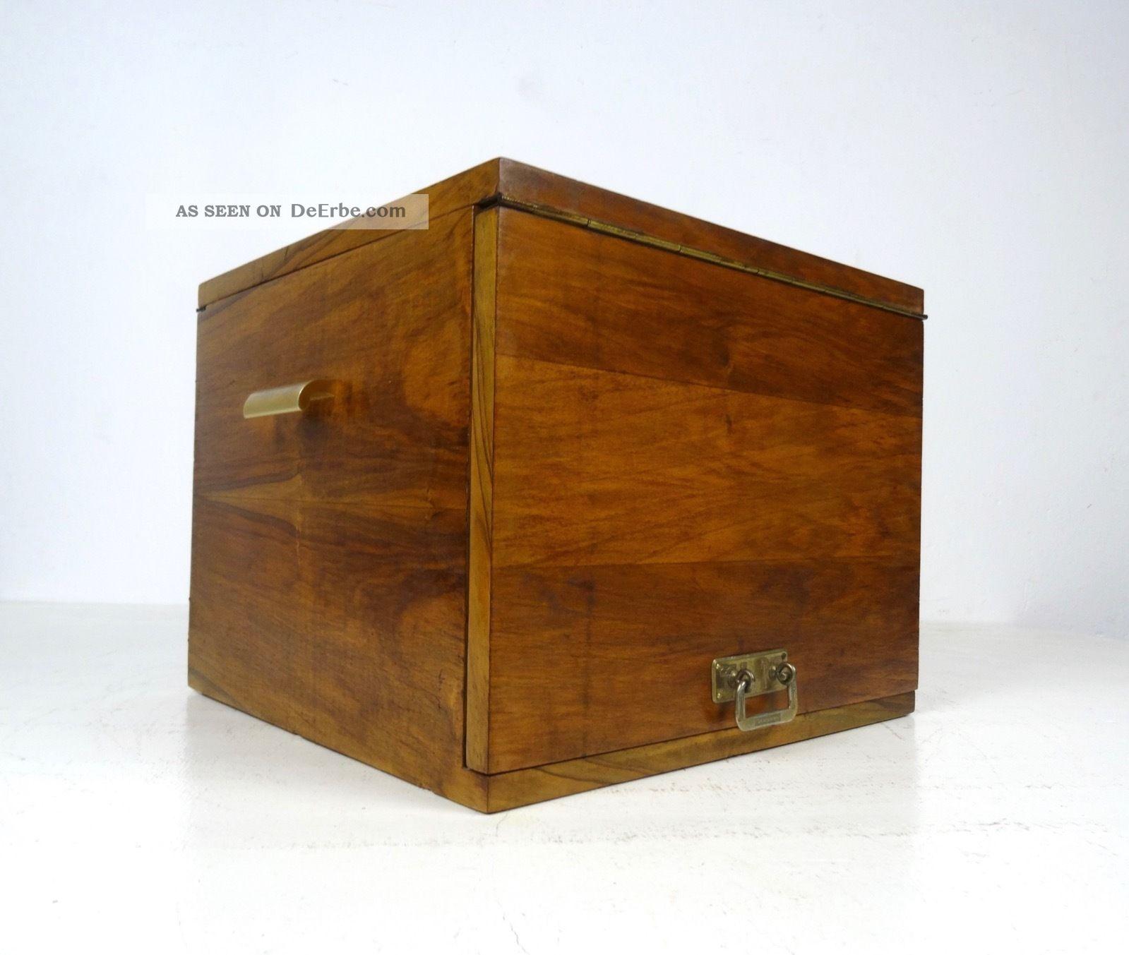 Kubistisches 30er Utensilo Art Deco Nußbaum Furnier 1930 Ablage Antik BÜro 1920-1949, Art Déco Bild