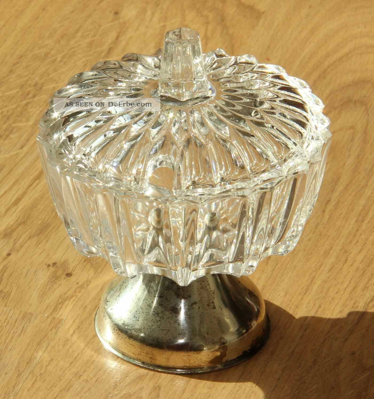Antike Zuckerdose - Kristall - Glas,  Versilberter Fuß - 12x14 Cm - Ansehen Lohnt Kristall Bild