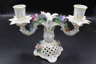 Potschappel Dresden Porzellan Lüster Kerzenleuchter Mit Blüten Goldstaffiert Bild