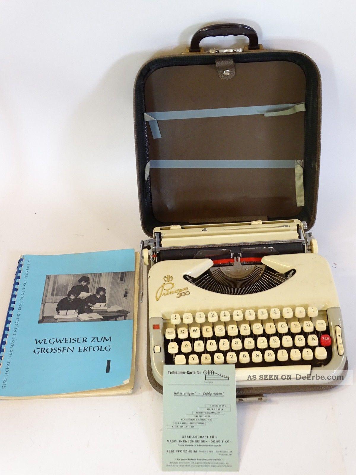 Antike Schreibmaschine Princess 300 Inkl Koffer Und Schreibübungen - Heft Antike Bürotechnik Bild