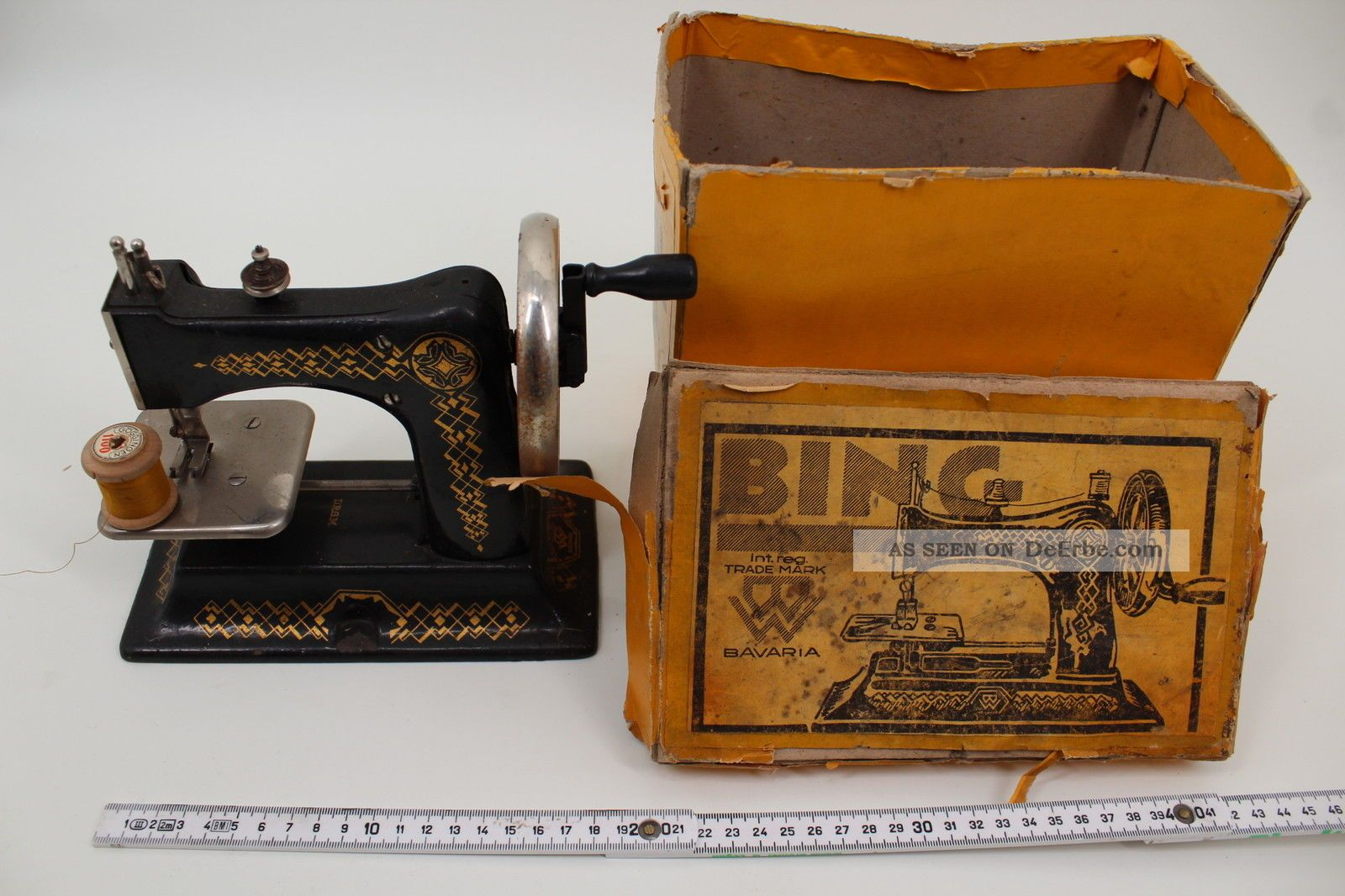 Bing Spielzeug Nähmaschine Eiserne Mamsell & Karton 1930 Gbn Antikspielzeug Bild