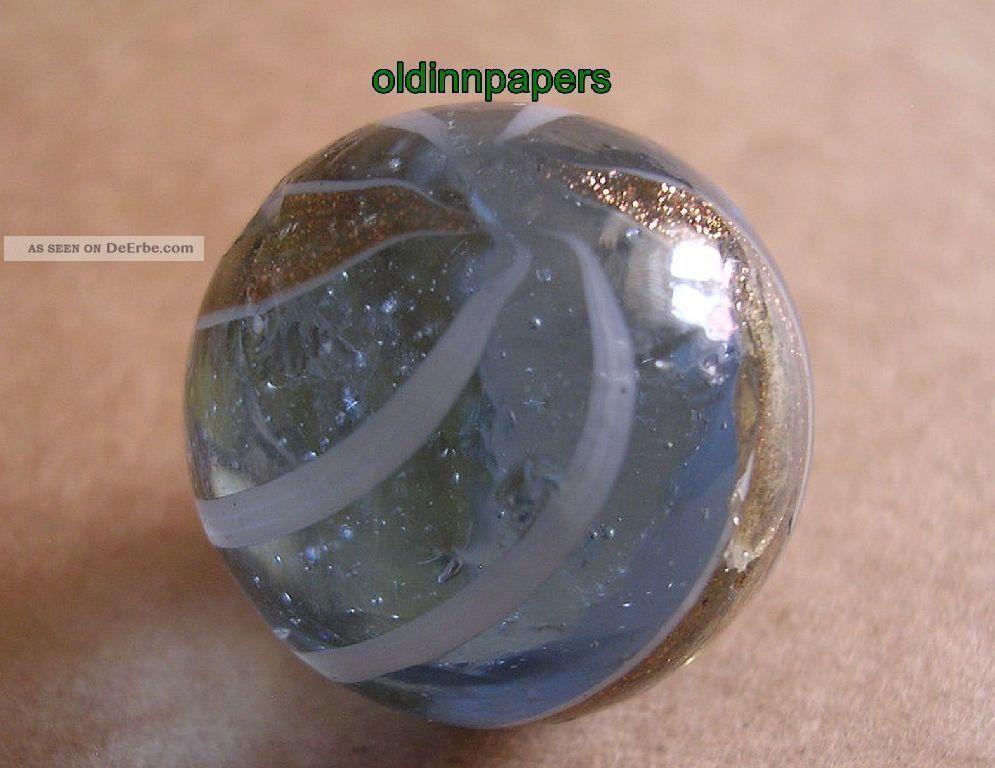Ur Alte Glas Murmel Glasmurmel Bespielt 22 Mm Goldeinschlüsse Glaskugel Vor 1945 Antikspielzeug Bild