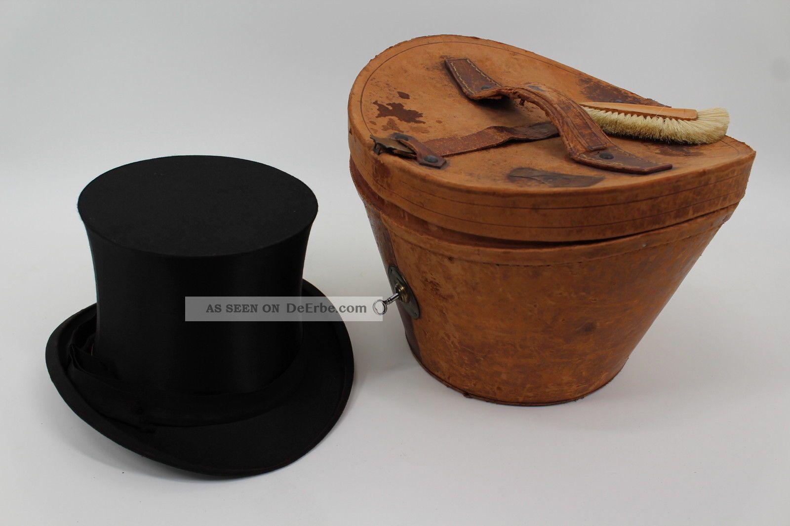 Antiker Zylinder Mit Passender Lederschachtel 1910 Jugendstil Heilbronn Accessoires Bild