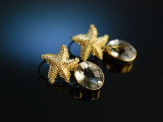 Seestern Ohrringe Silber 925 Vergoldet Prasiolithe GrÜne Amethyste Earrings Bild