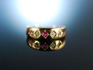 Antiker Freundschafts Band Ring Rubine Diamanten Gold 750 England Um 1910 Bild