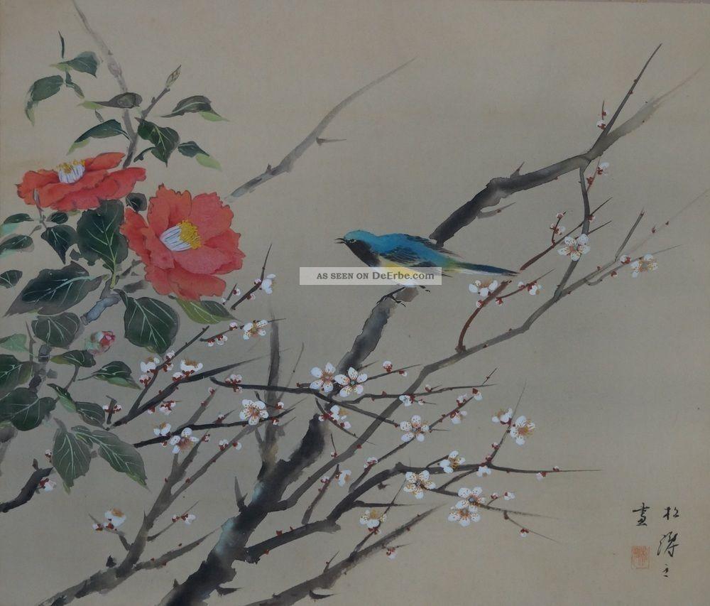 Antikes Japanisches Rollbild Kakejiku Vogel Und Blume Japan Scroll 3537 Asiatika: Japan Bild