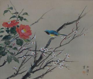Antikes Japanisches Rollbild Kakejiku Vogel Und Blume Japan Scroll 3537 Bild