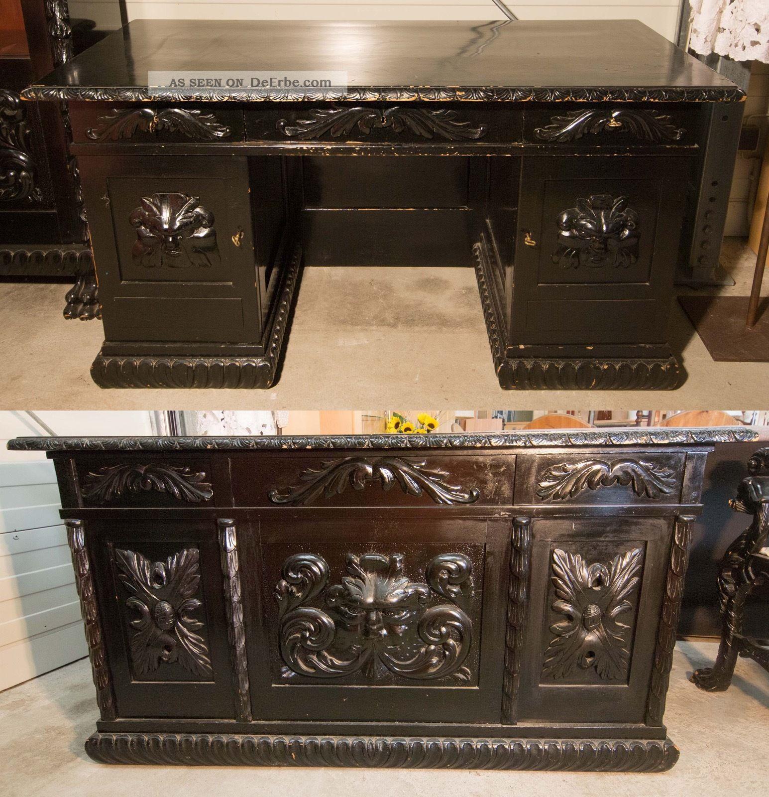 Schreibtisch Neorenaissance Historismus Stil Antik Antiquität Herrenzimmer Schreibmöbel Bild