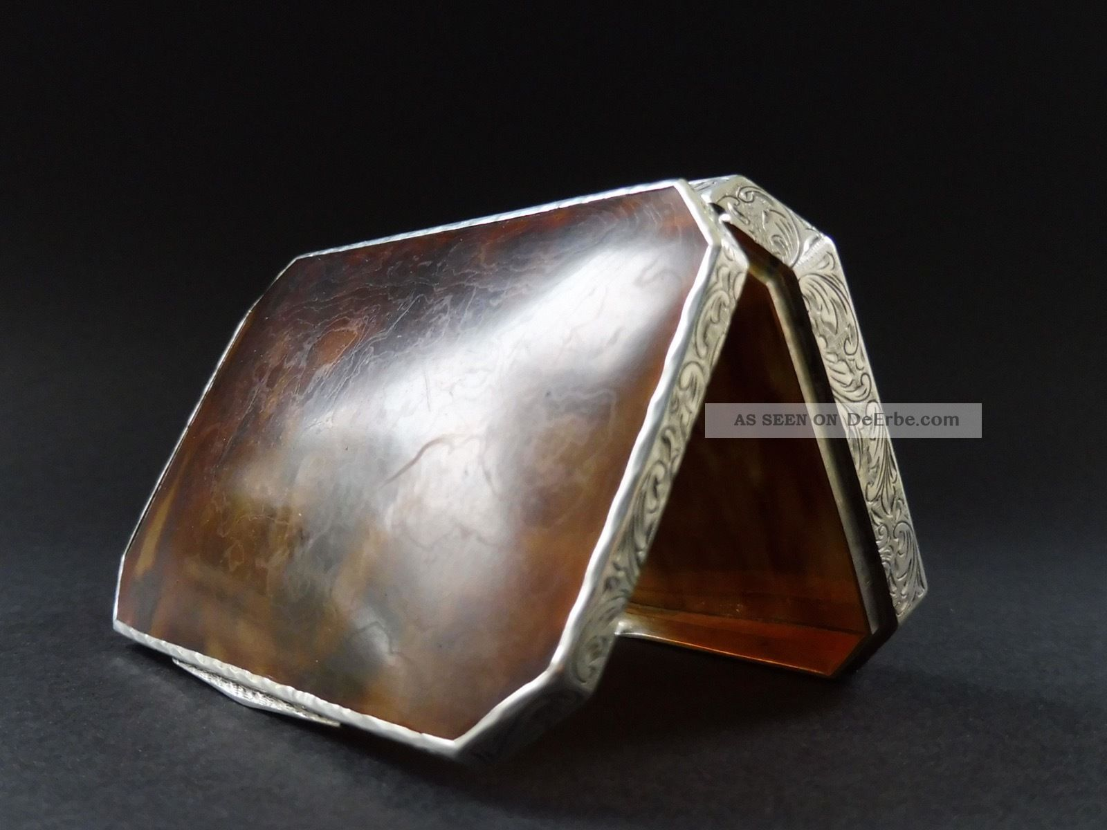 Jugendstil Schildpatt 935 Silber Dose Etui Art Nouveau Tortoise Shell Box Silver Objekte vor 1945 Bild