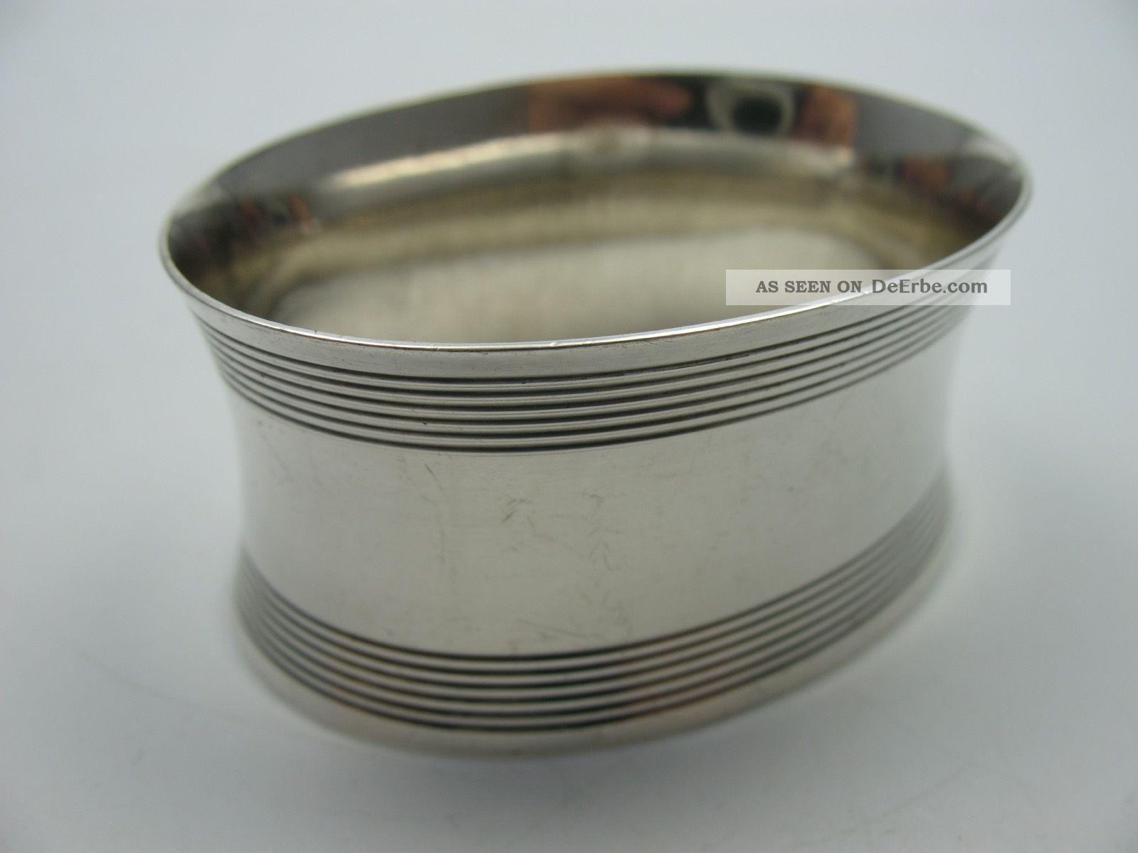 Klasse Großer Alter Ovaler Serviettenring Aus 835 Silber Für Stoffservietten Objekte vor 1945 Bild