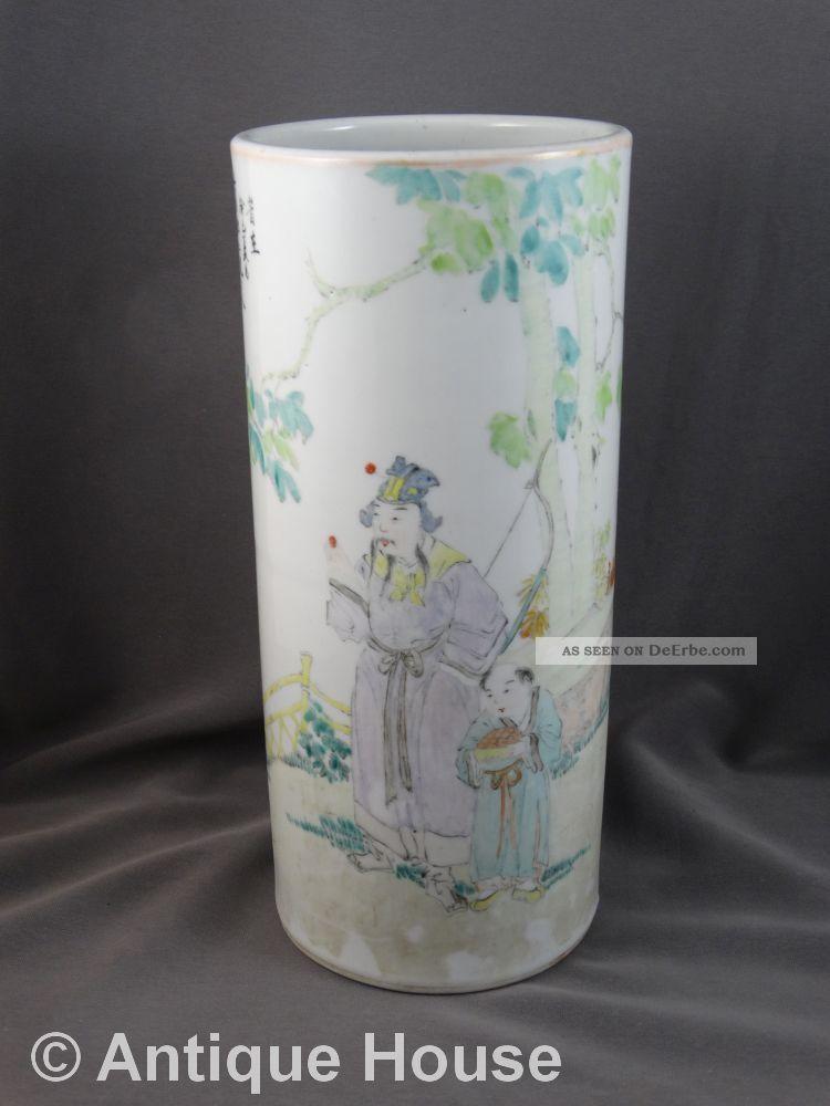 Große Alte Vase China Dekor Gemalt Schriftzeichen Keramik Glasur - 29 Cm Asiatika: China Bild