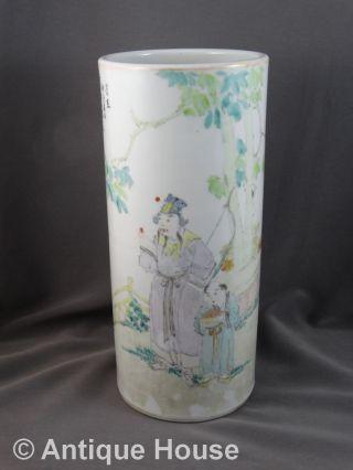 Große Alte Vase China Dekor Gemalt Schriftzeichen Keramik Glasur - 29 Cm Bild