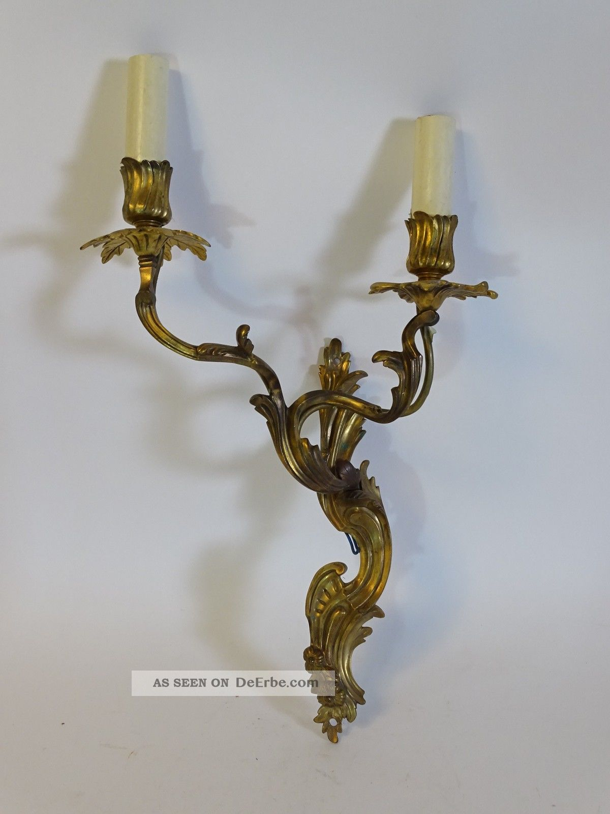 2 - Flammiger Antiker Messing Wandleuchter In Ausgefallener Formgebung Messing Bild