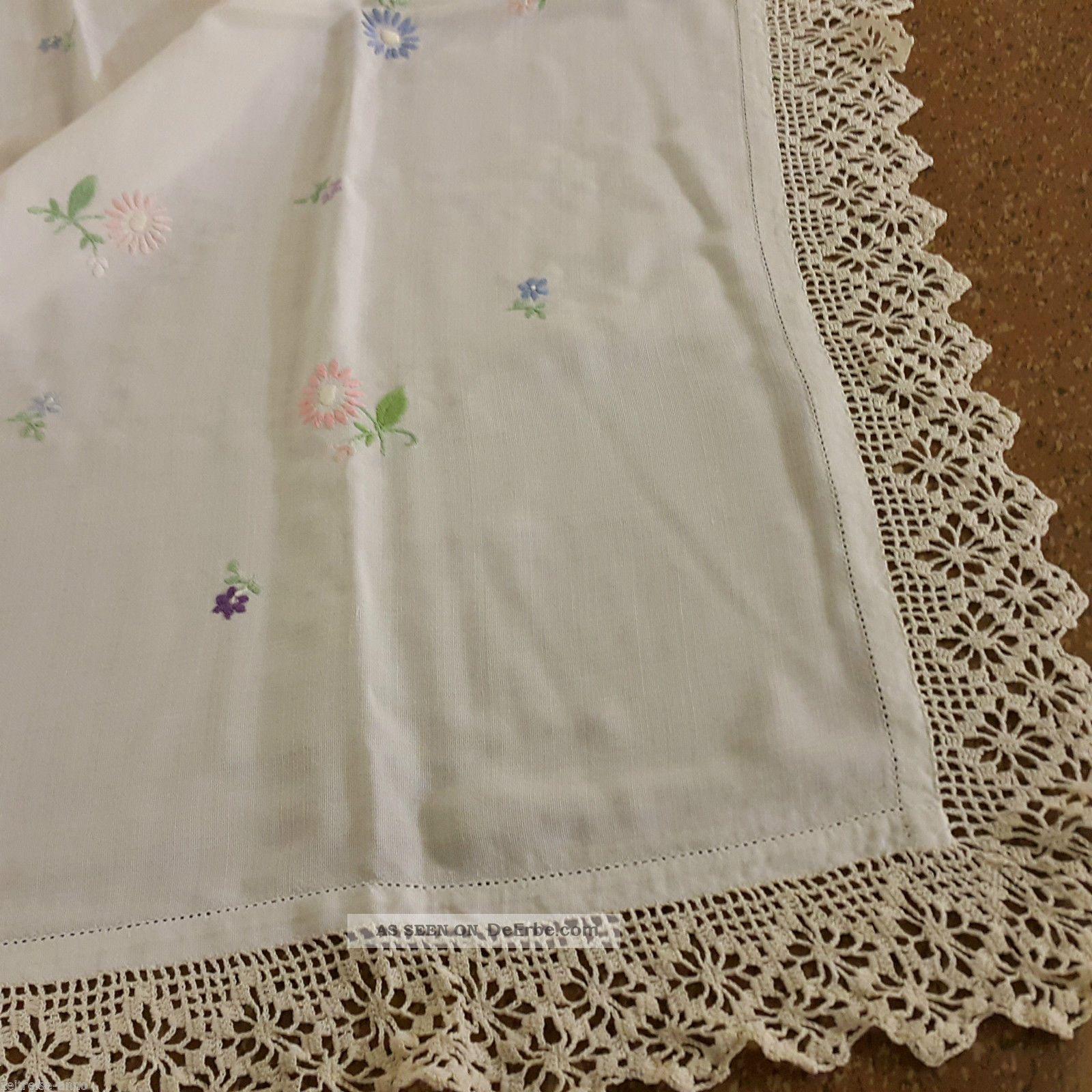 Tischdecke Mitteldecke Weiß Creme Mit Blümchen Stickerei,  Häkelborte Handarbeit Tischdecken Bild