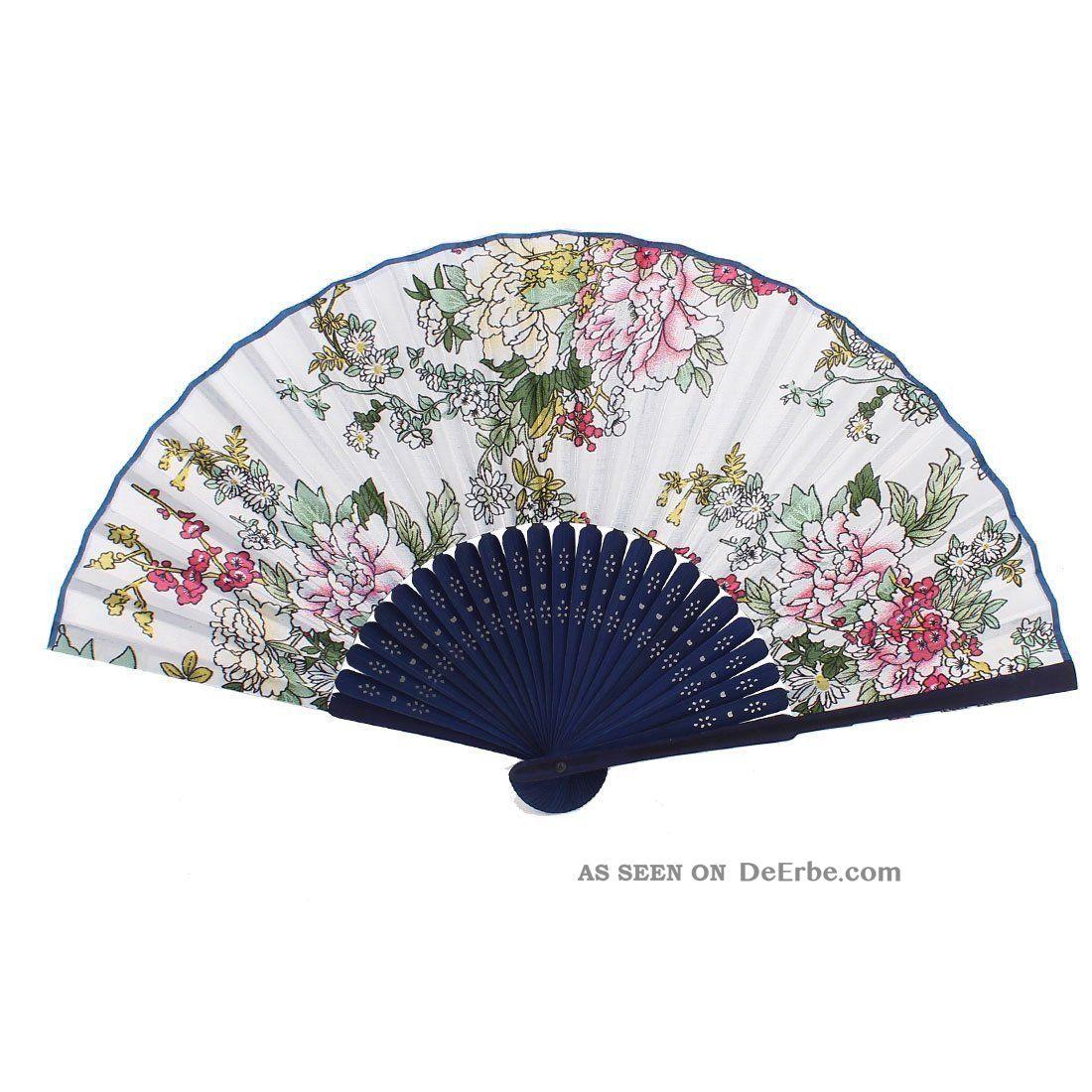 Bambus - Rahmen Handgemacht Blumenmuster Faltreifen Handfaecher A2l5 Entstehungszeit nach 1945 Bild