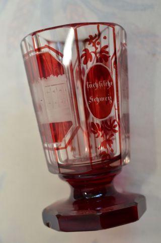 Alter Biedermeier Kristall Fussbecher Pokal Sammlerstück 1860 - 1900 Bild
