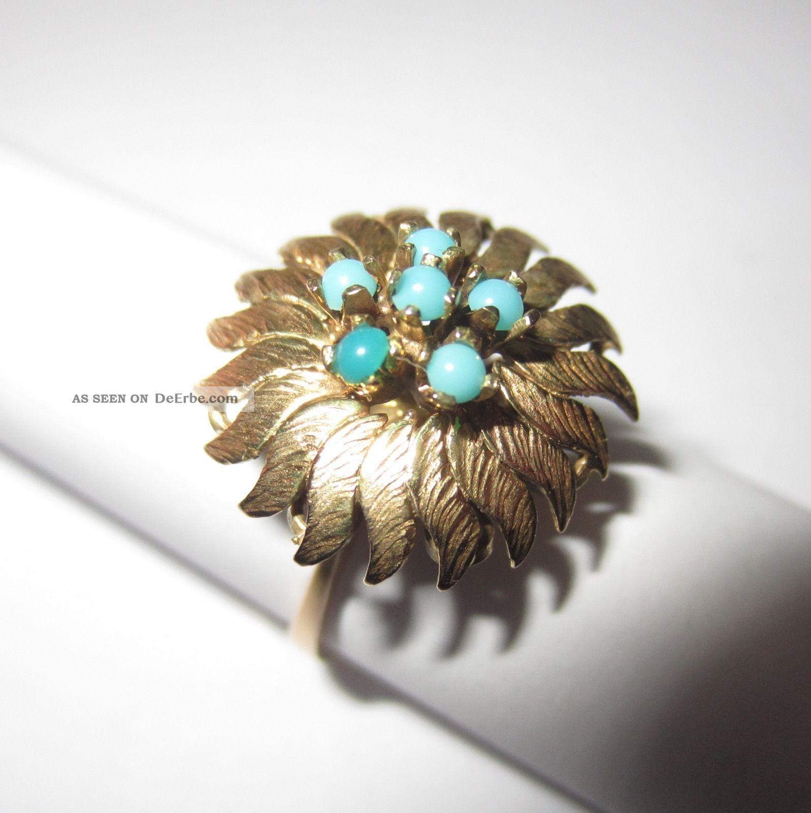 Schöner Ring Türkis 14 K 585 Gold Gr.  54 Vintage 70er Jahre 4,  4 Gr. Ringe Bild