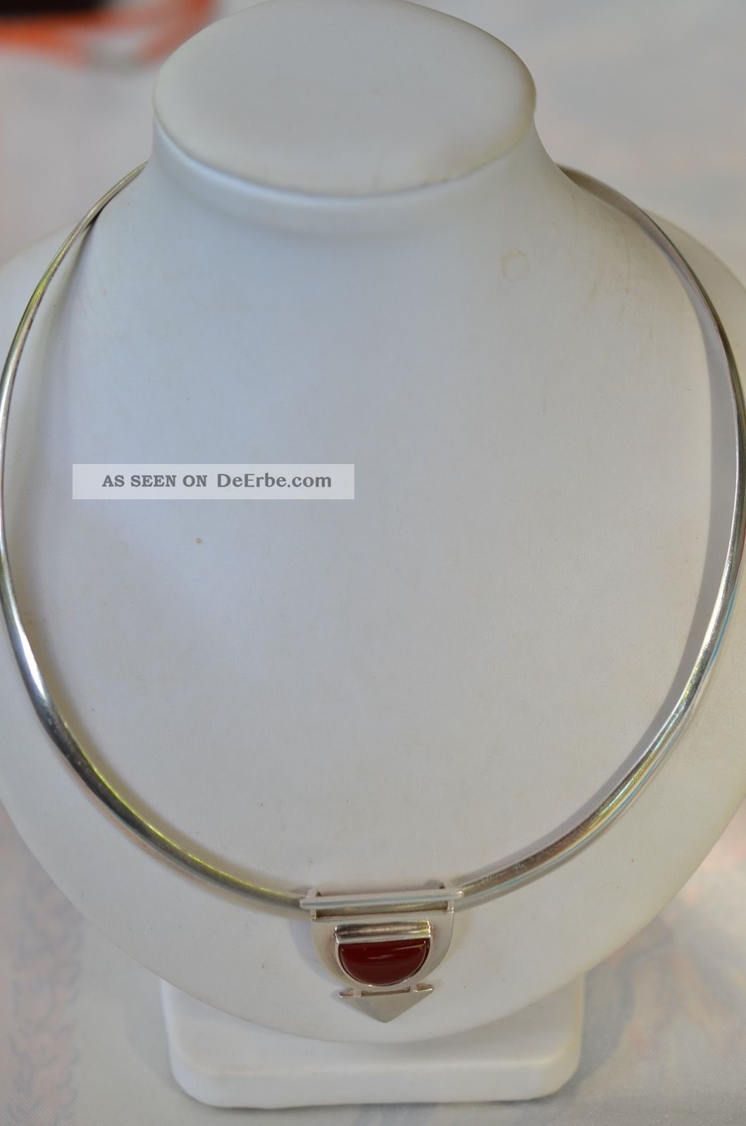 Schöner Silberschmuck Halsreif Mit Karneolanhänger Silber 925 Ketten Bild