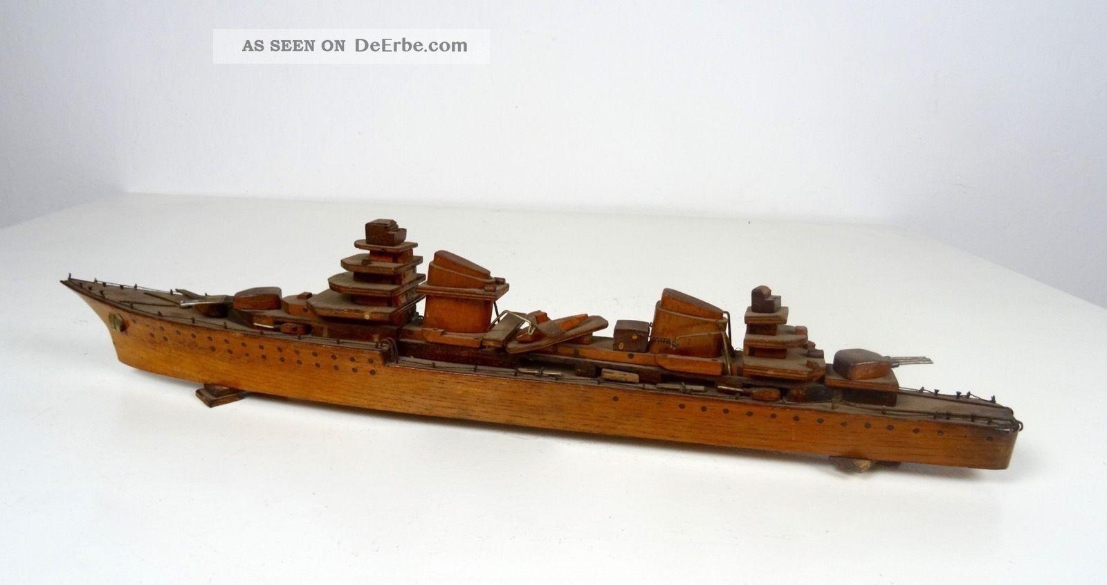 Seltene Art Deco Schiff Skulptur Antik Frankreich 1930 Kriegsschiff Fregatte 1920-1949, Art Déco Bild