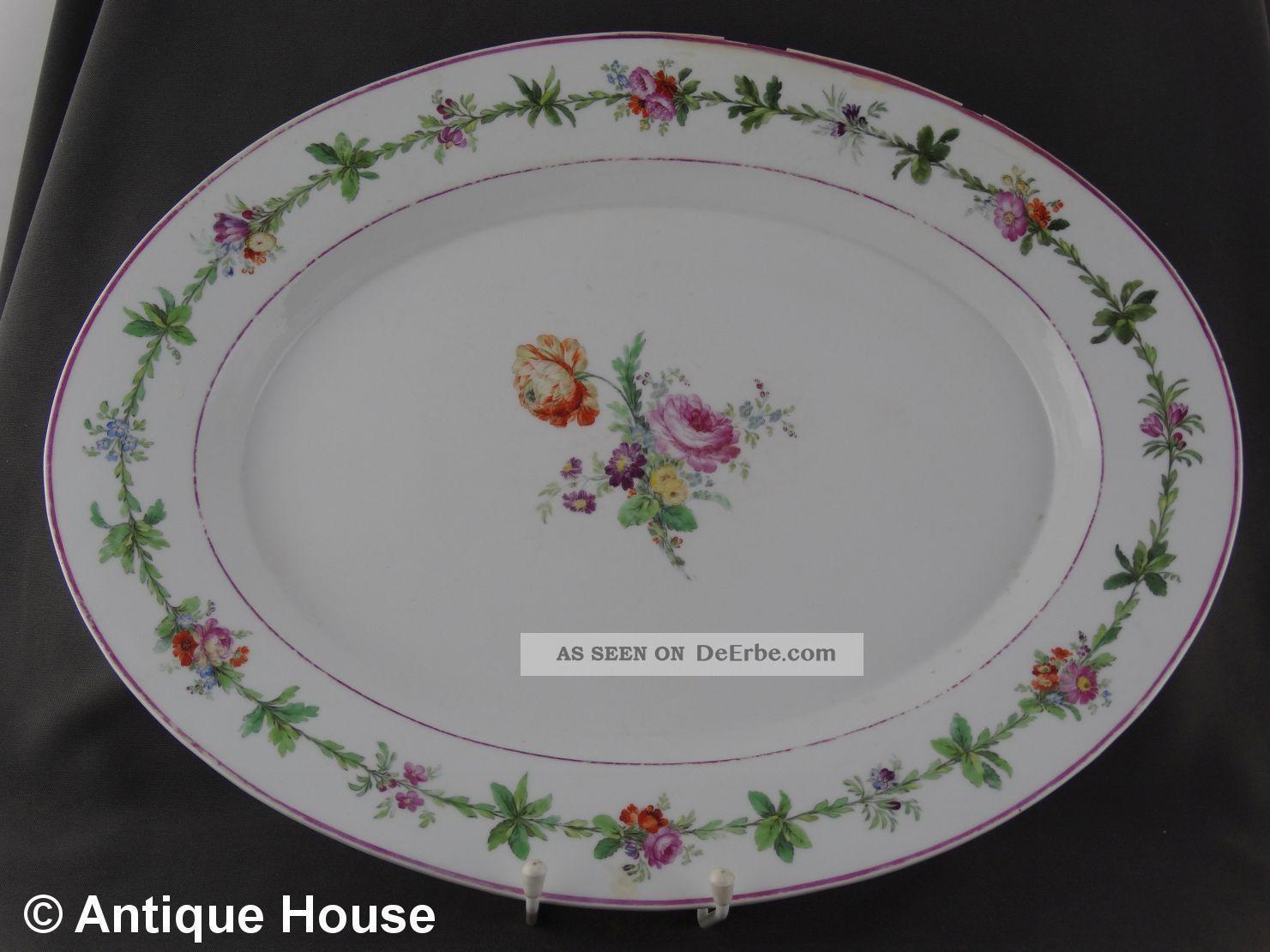 Kpm Berlin Große Antike Platte Fleischplatte Oval Blumendekor Restauriert 47 Cm Nach Marke & Herkunft Bild