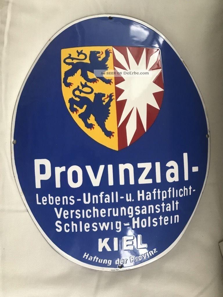 Emailschild Provinzial Versicherungsanstalt Schleswig - Holstein Ca 1930 Emaile Emailwaren Bild