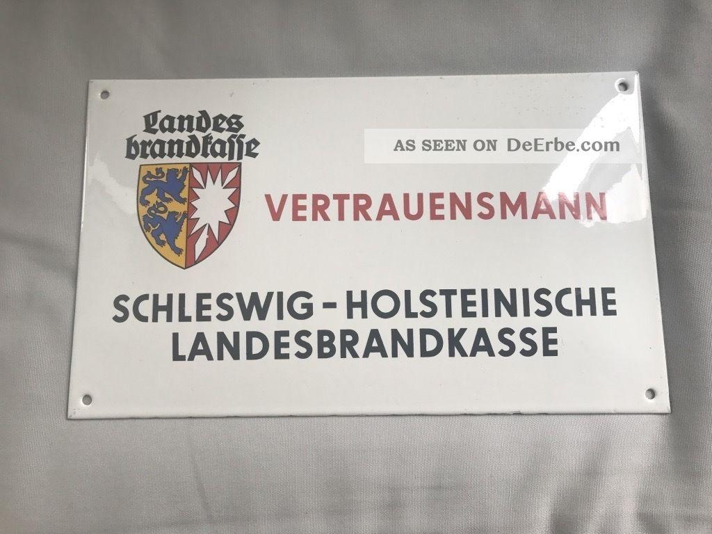 Altes Emailschild Schleswig - Holsteinische Landesbrandkasse Ca 1950 Emailwaren Bild