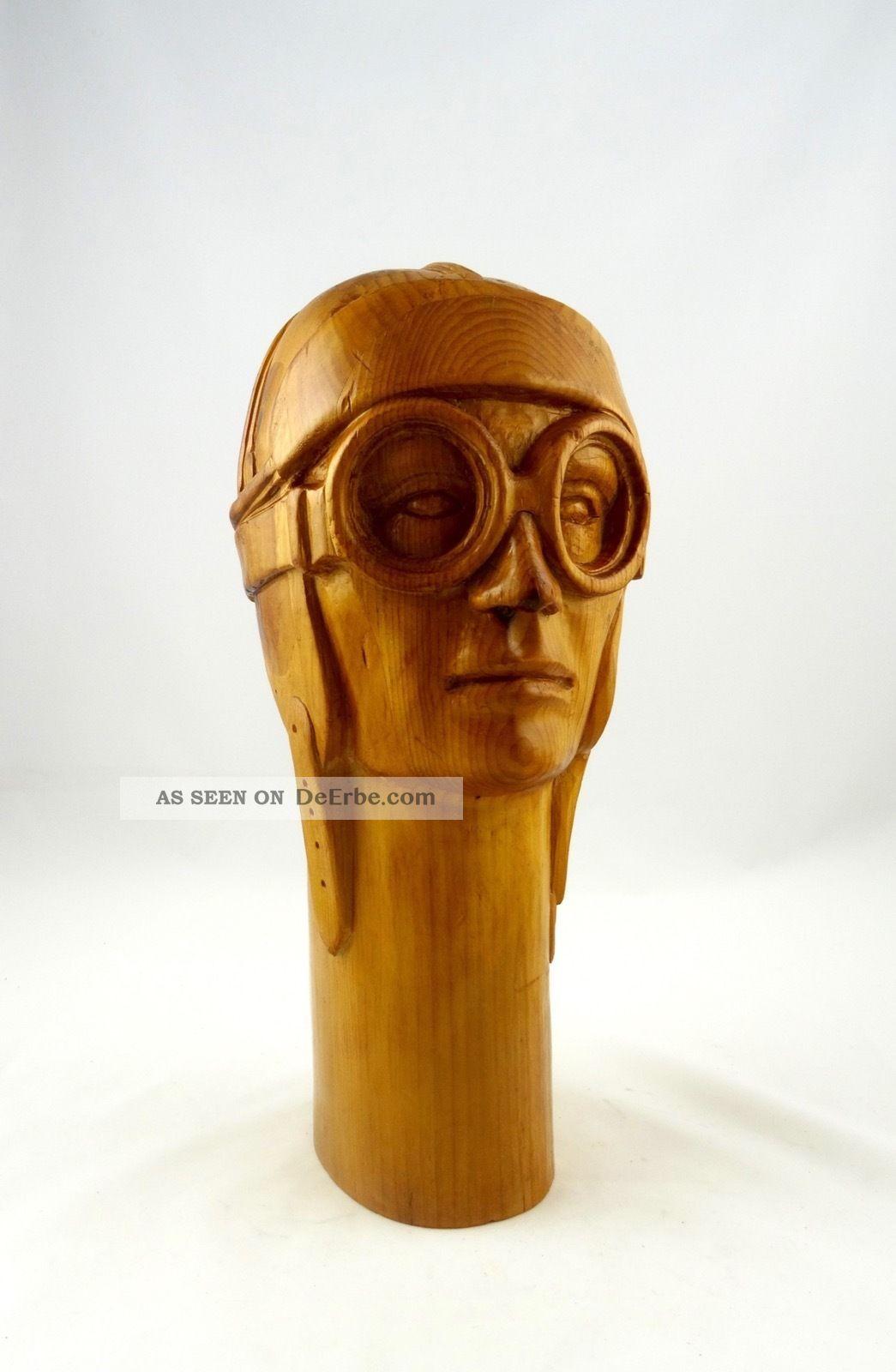 Große Art Deco Flieger Skulptur Handgeschnitzt Antik Fliegerei Pilot BÜste Holz 1920-1949, Art Déco Bild