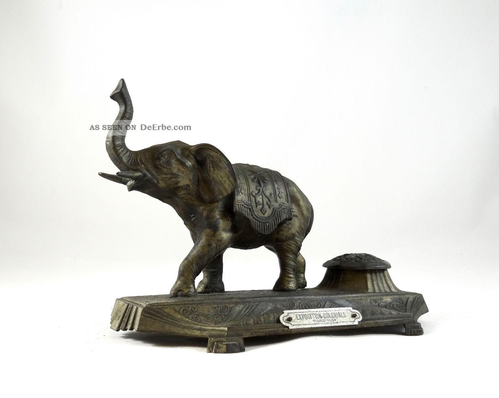 Kolonialausstellung Frankreich 1936 Art Deco Skulptur Elefant Signiert A.  Guver 1920-1949, Art Déco Bild