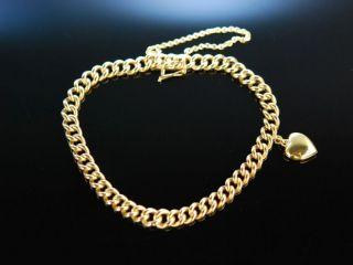 Heart Bracelet Massives Klassisches Panzer Armband Mit Herz AnhÄnger Gold 585 Bild