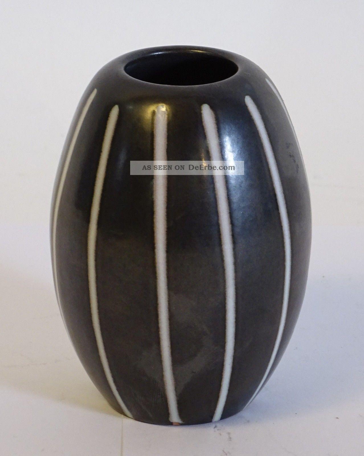 Van Daalen Studio Design Mid Century Schwarz Weiße Keramik Vase 1950-1959 Bild