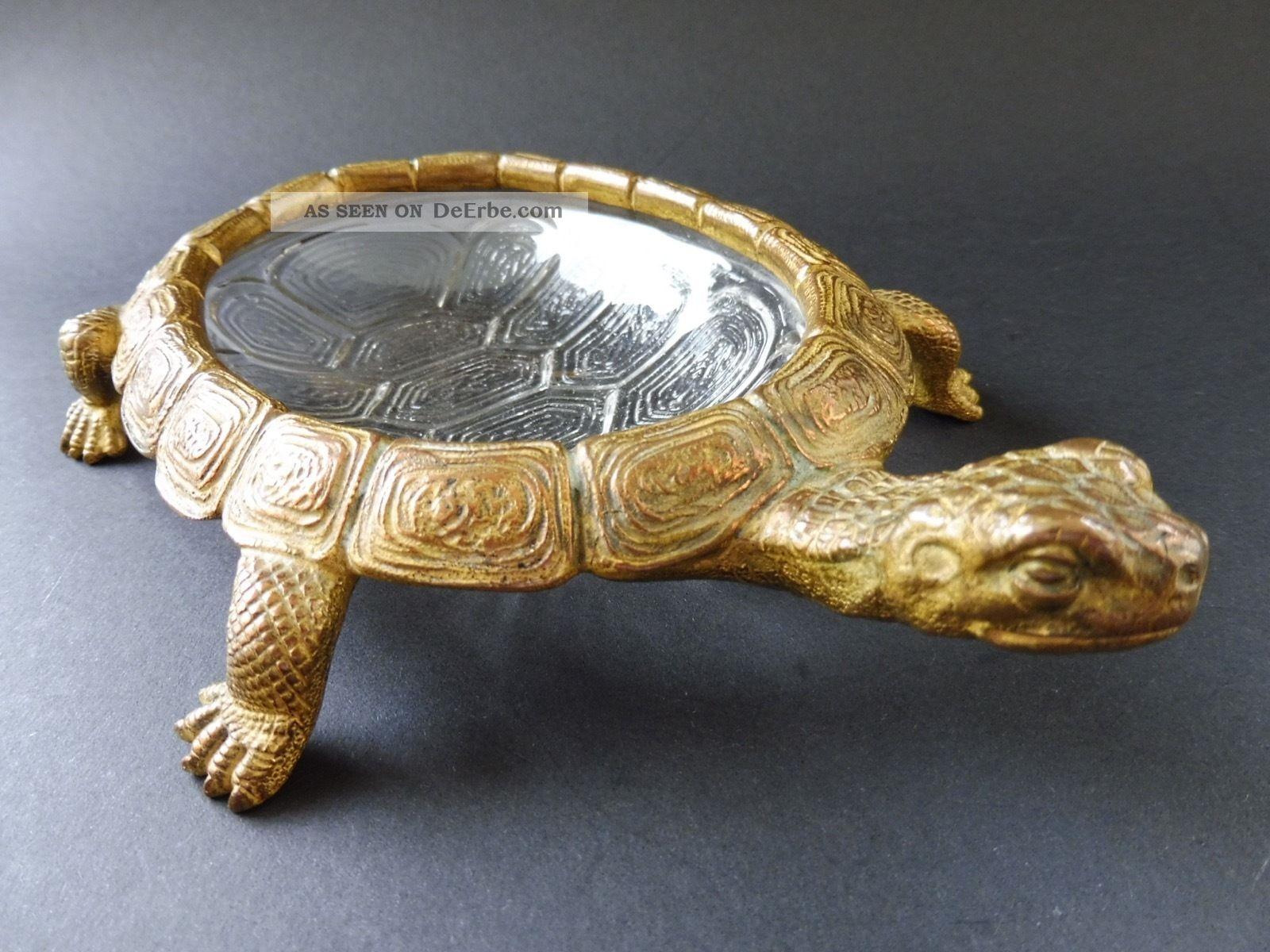Rar Jugendstil Bronze SchildkrÖte Turtle Jardiniere Vergoldet Art Nouveau Glas 1890-1919, Jugendstil Bild