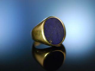 Edlker Klassiker Zum Gravieren Familien Wappen Siegel Ring Gold 585 Lapislazuli Bild
