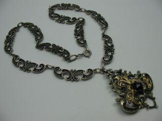 Traumhaft Schöne ältere Alpenländische Collier Kette Aus 835 Silber Mit Granat Bild