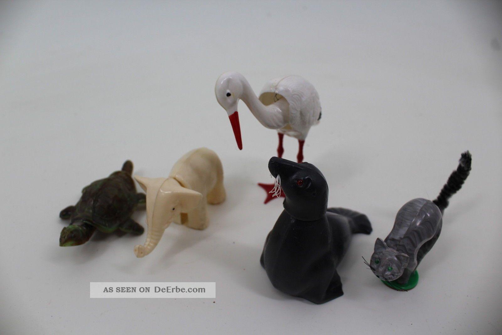 5 Wackelkopf Tiere Aus Kunststoff Breba 1960 Antikspielzeug Bild