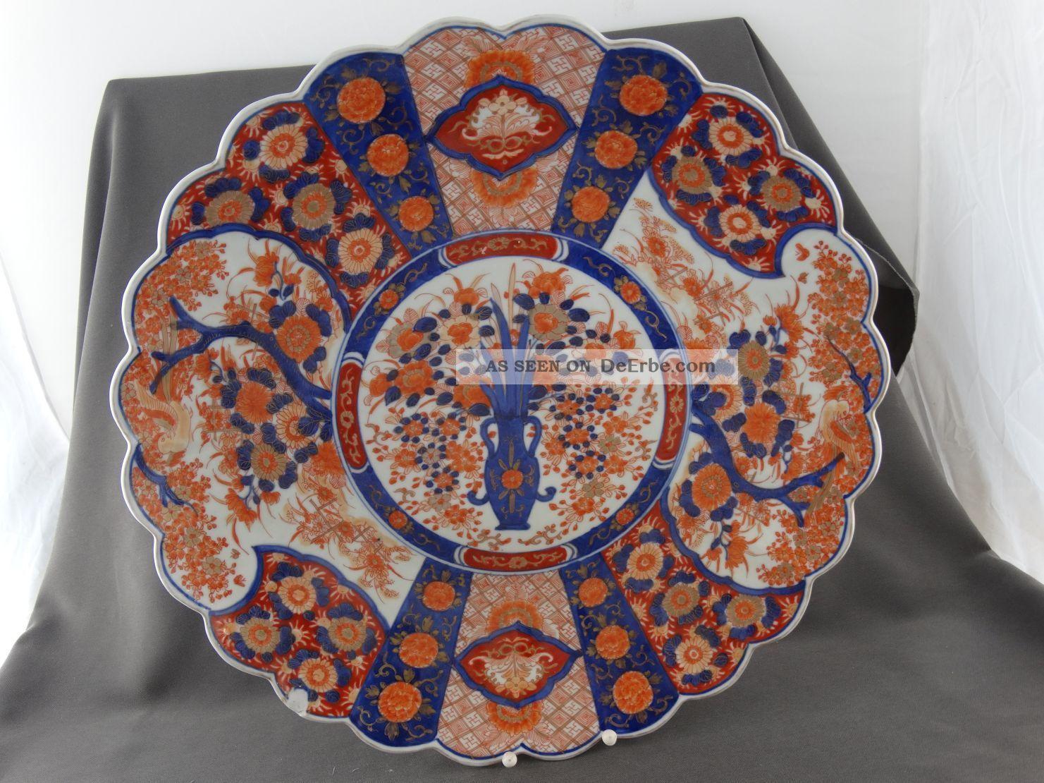 Japan Keramik Großer Alter Imari Teller Blau Rot Gold Amphore Und Blumenmalerei Asiatika: Japan Bild